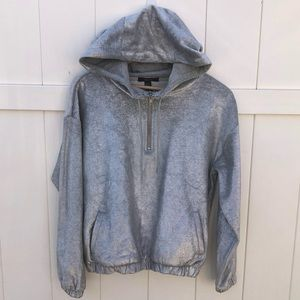 Forever 21 silver metallic hoodie sweater …